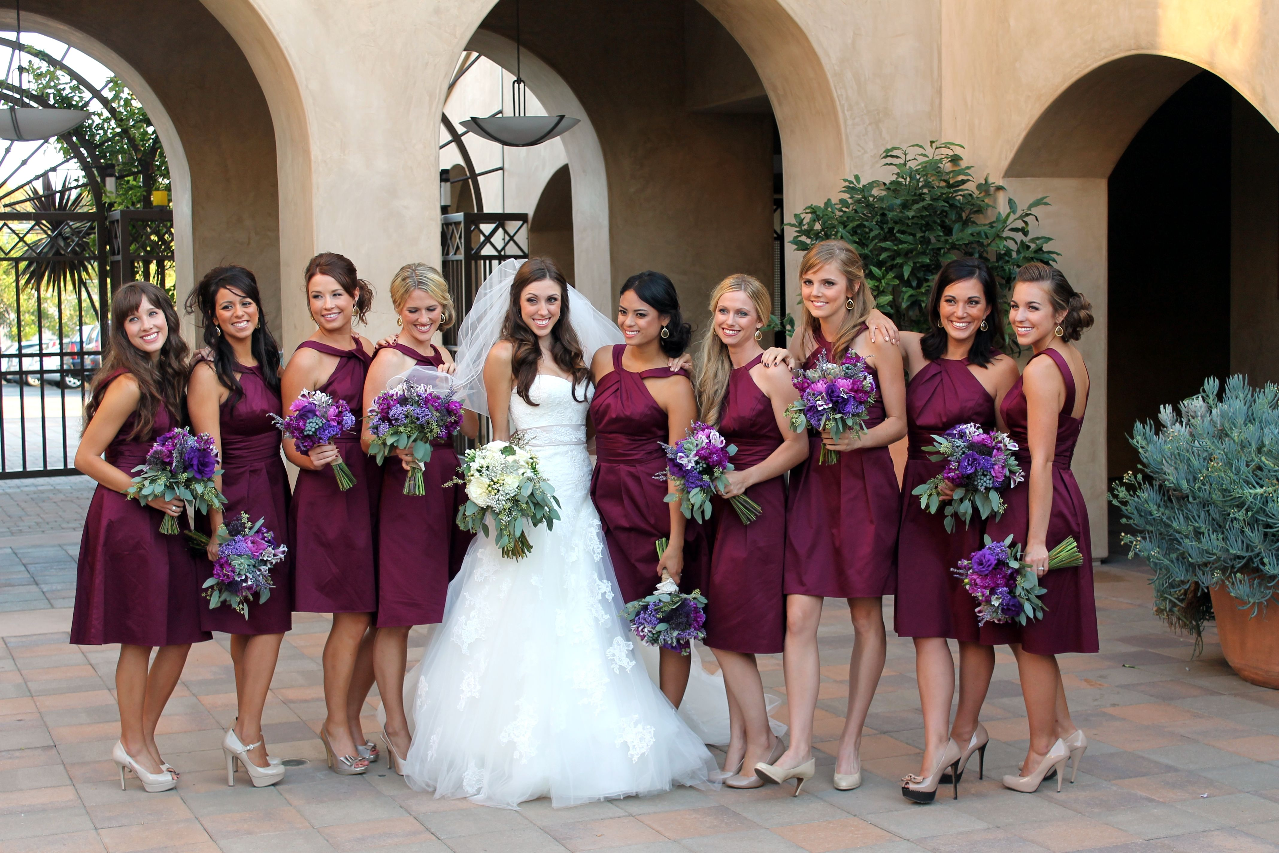 Wine colored bridesmaid dresses with purple flowers all things wine colored bridesmaid dresses with purple flowers ombrellifo Choice Image