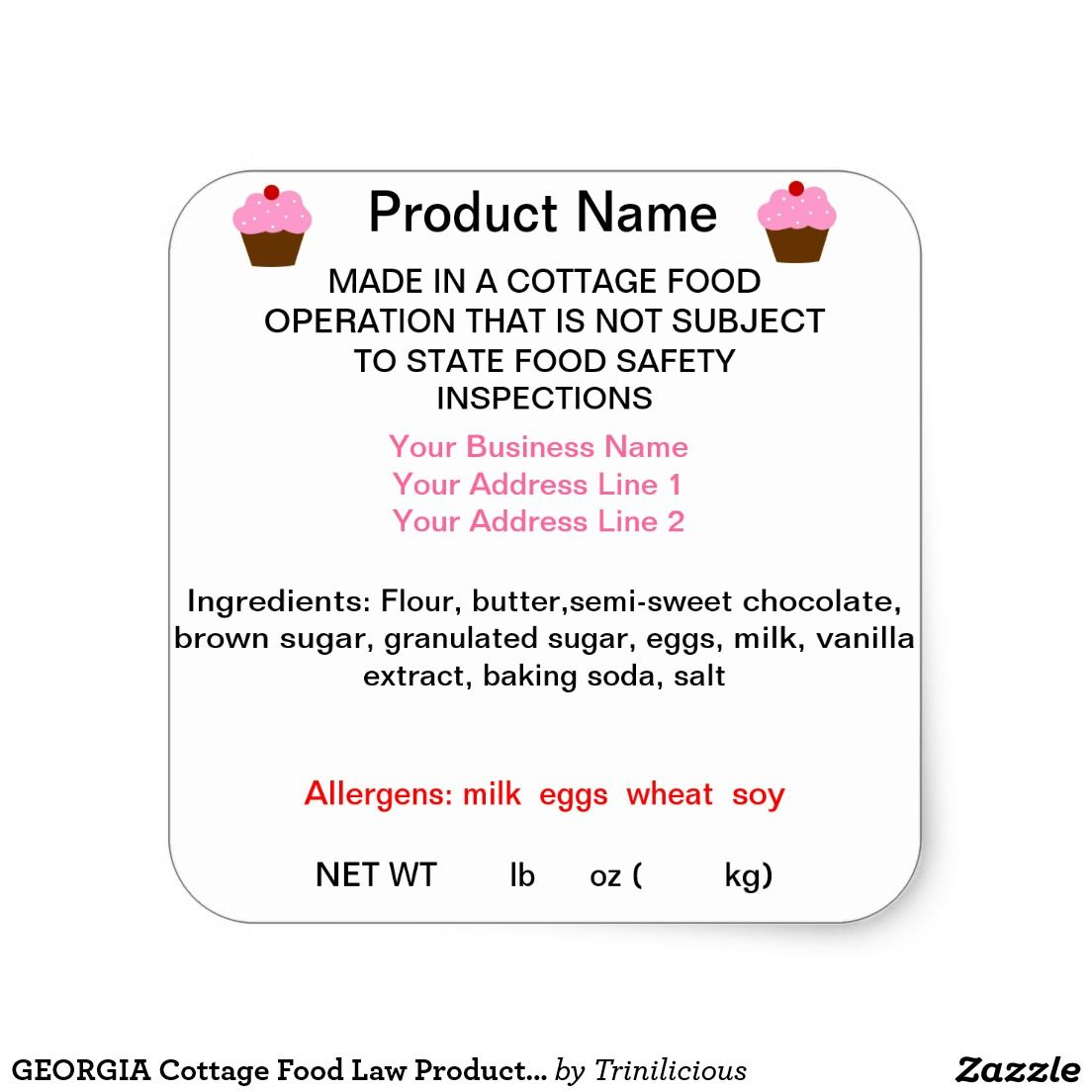GEORGIA Cottage Food Law Product Labels Product labels Food and