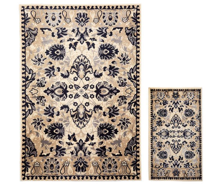Lani Traditional Floral Accent Area 2 Piece Rug Set Rug Sets