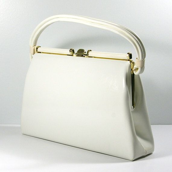 60s White Handbag, Dover Handbag Co., MOD White Vinyl Purse