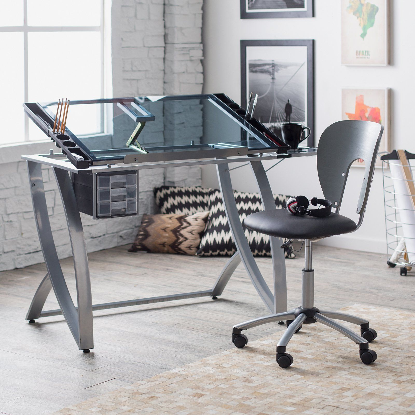 Studio Designs Futura Advanced Drafting Table With Side Shelf Set