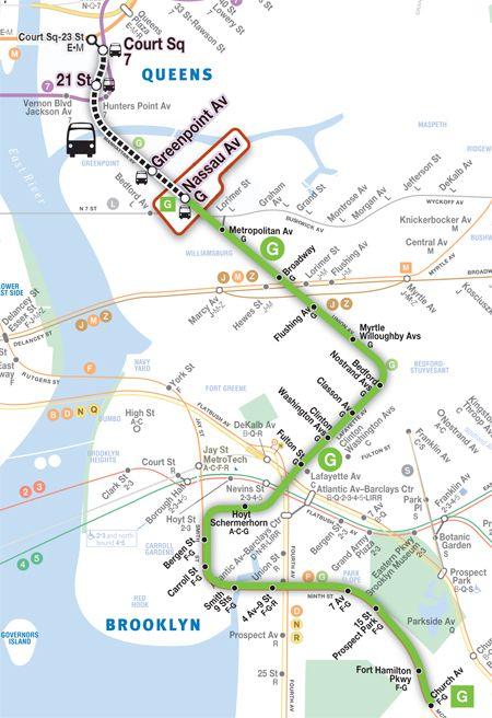 Subway Map G Train