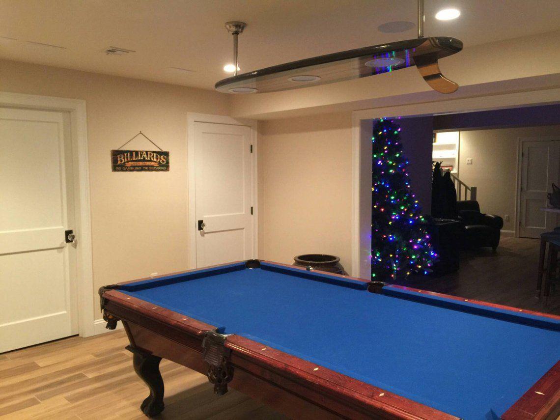 Surfboard Pool Table Billiard Game Room Bar Plafond Lumiere Bar