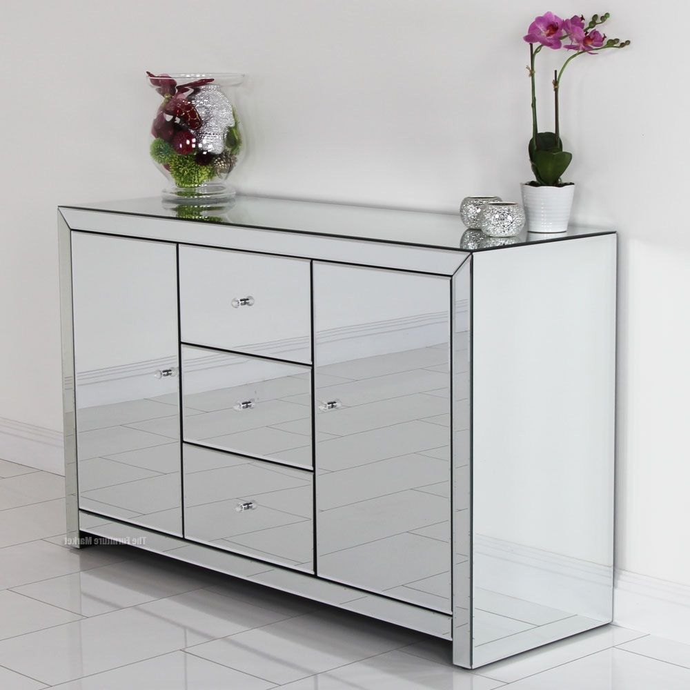 Large Mirrored Side Board Glass Cabinet Mirror