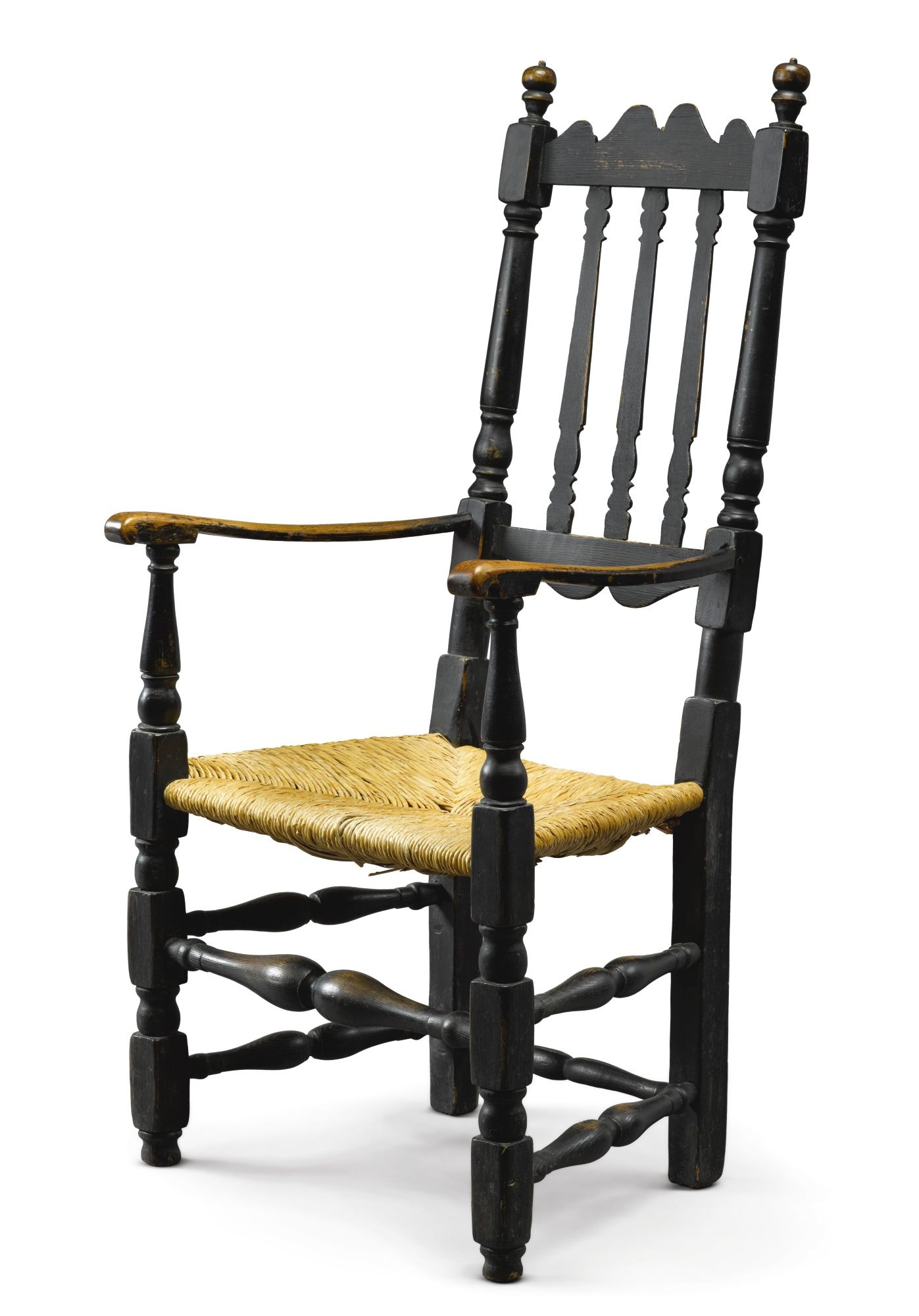 Rare William And Mary Black Painted Maple Banister Back Armchair