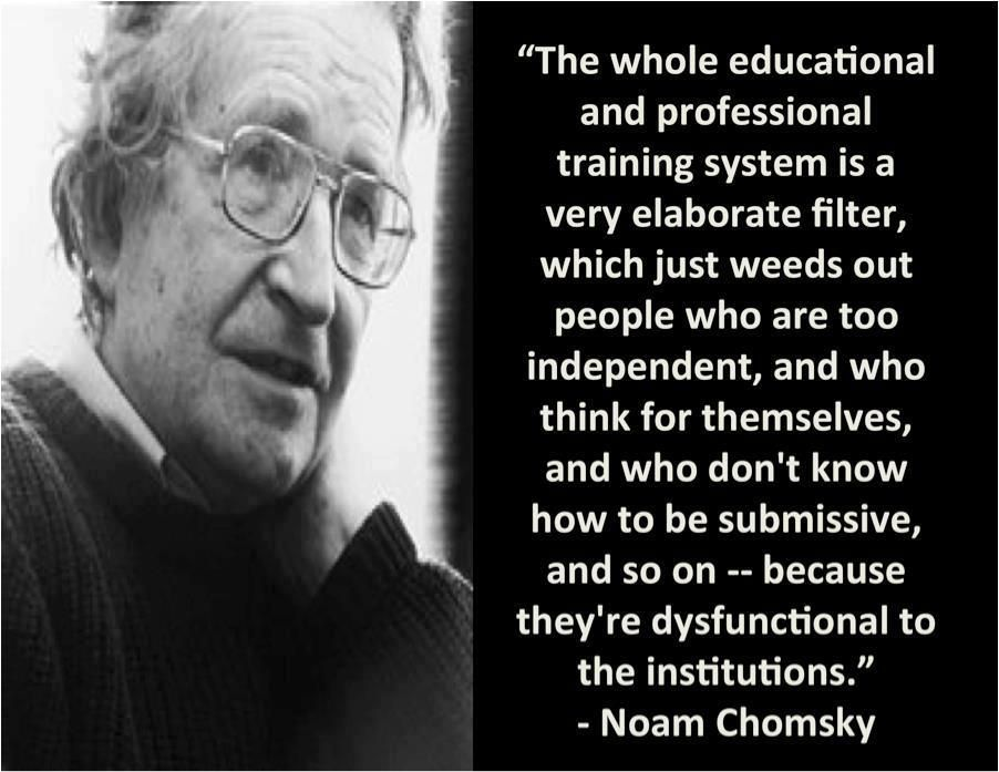"""The whole educational system and professional training system is a very elaborate filter,…."".-Noam Chomsky - More at: http://quotespictures.net/22836/the-whole-educational-system-and-professional-training-system-is-a-very-elaborate-filter-noam-chomsky"