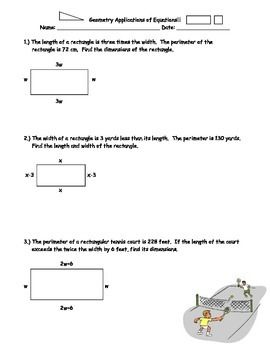 Geometric Applications Of Equations Algebra I Pinterest Math