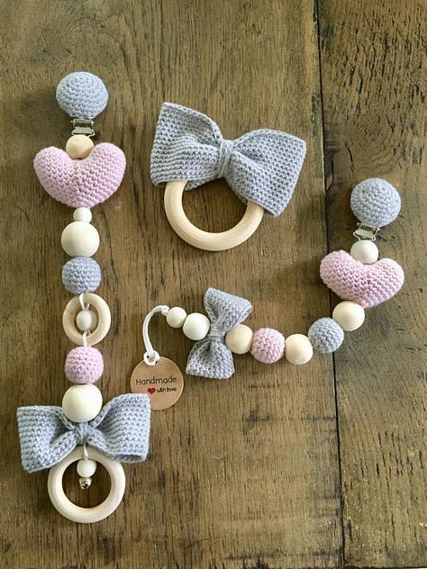 Photo of Set baby stroller deco garland teething ring pacifier dummy clip heart bow powder rose grey