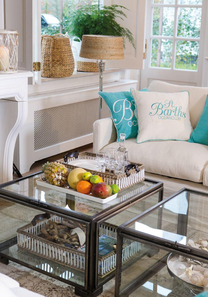 Riviera Maison sfeer aqua beige woonkamer inspiratie | Woonkamer ...