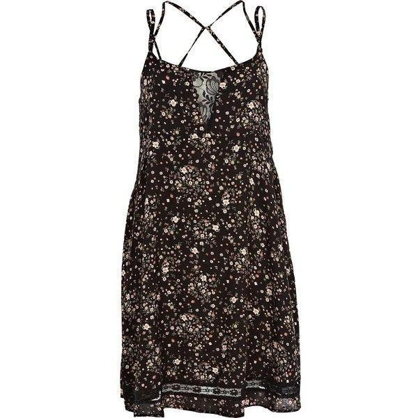 8193204fe3 River Island Black ditsy print lace insert slip dress (275 ARS) ❤ liked on