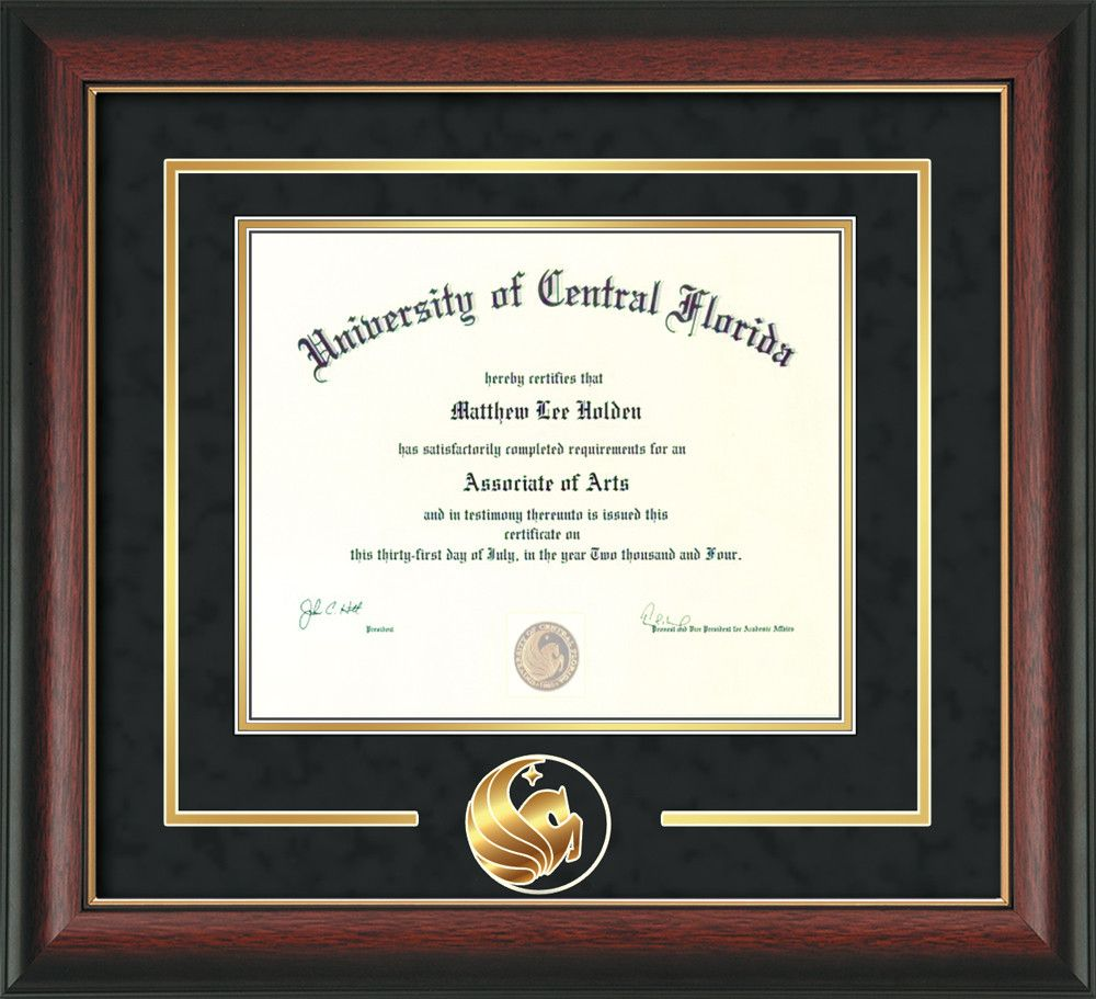University of Central Florida Diploma Frame - Rosewood w/Gold Lip ...