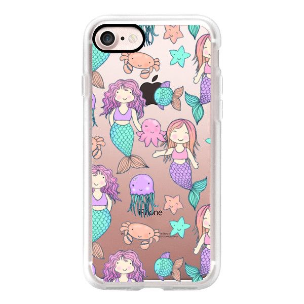 Little Kawaii Mermaids on transparent - iPhone 7 Case, iPhone 7 Plus... (325 NOK) ❤ liked on Polyvore featuring accessories, tech accessories, iphone case, iphone hard case, iphone cover case, apple iphone cases, iphone cases and transparent iphone case