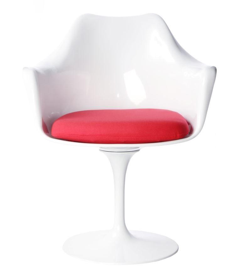 Replica Eero Saarinen Tulip Armchair - Plastic, Fabric Cushion Red
