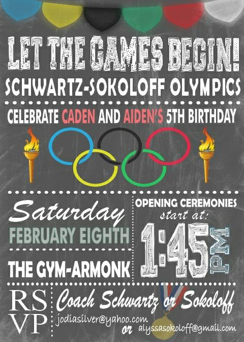 Olympic Themed Invitation Digital Or Printed Option In 2019