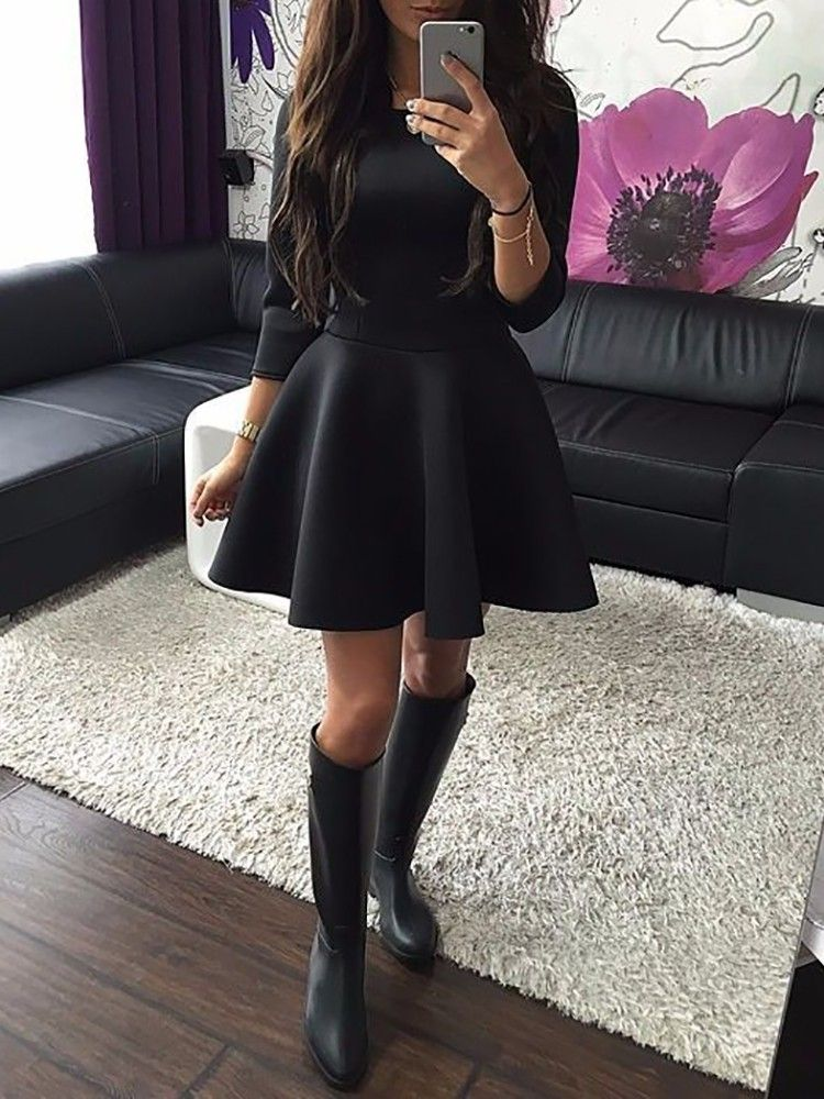 Line Thicken Casual A Fashion Pleated Women DressSewing Mini WE9eHI2bDY