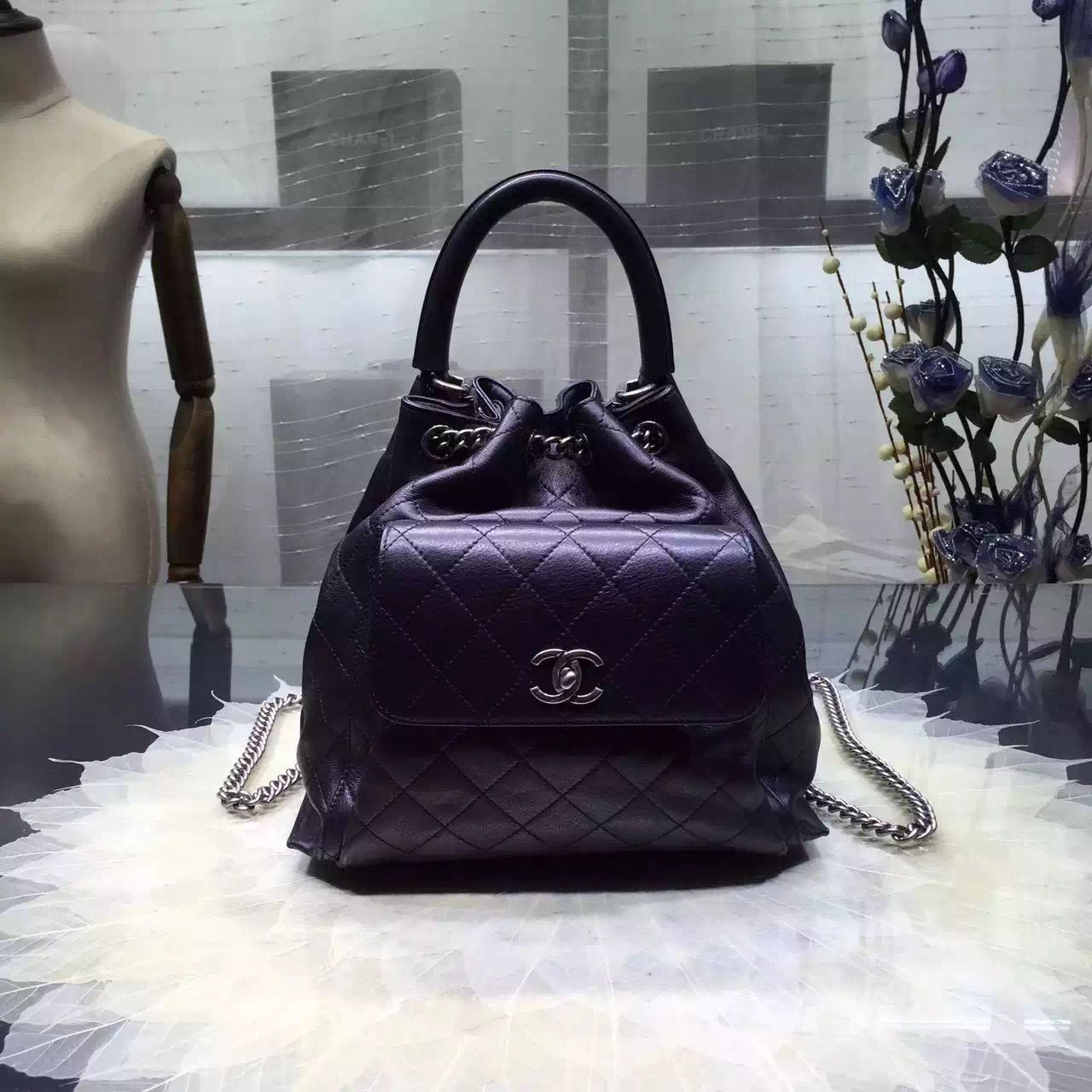 d6b50a0e40c4 Chanel A93881 Calfskin Drawstring Handbag Pre-SS 2016