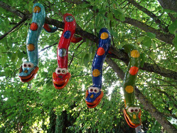 Tree snake made of ceramics, for hanging, frost proof, unique, bilious Green, Gartendeko