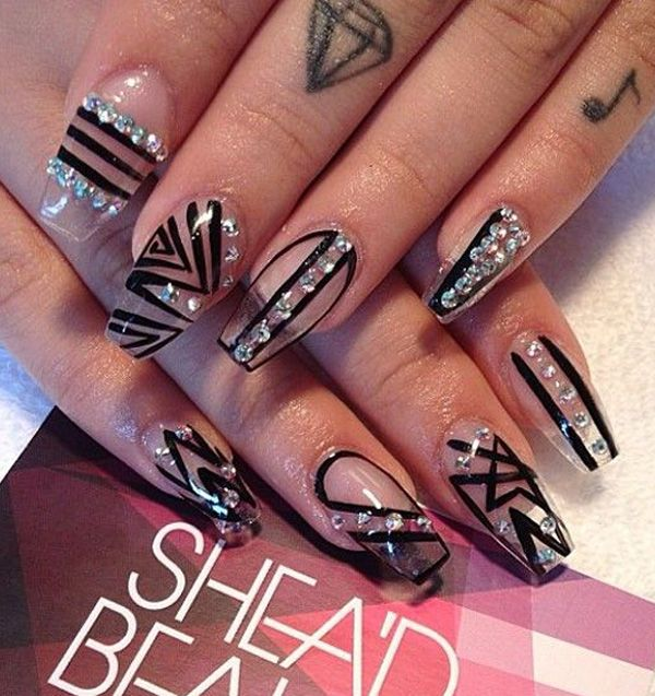 Artsy Looking Stick On Nails In Black Tribal Polish Designs Nails
