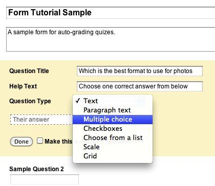 Google Forms how to create a quiz or a test that automatically