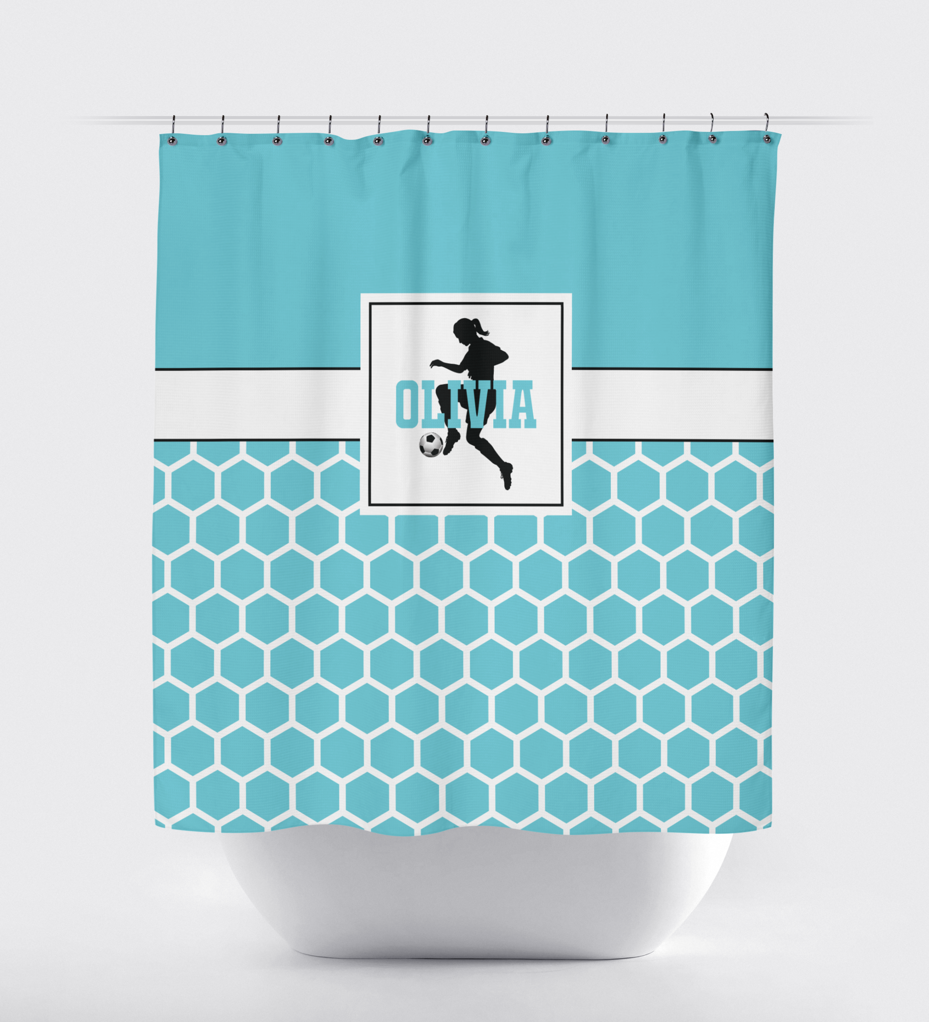 Custom Hexagon Soccer Shower Curtain Aqua Black And White