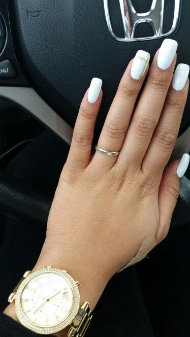 Got My Nail Fill Today Acrylics W Solid White Gelish And A Gold Line Design