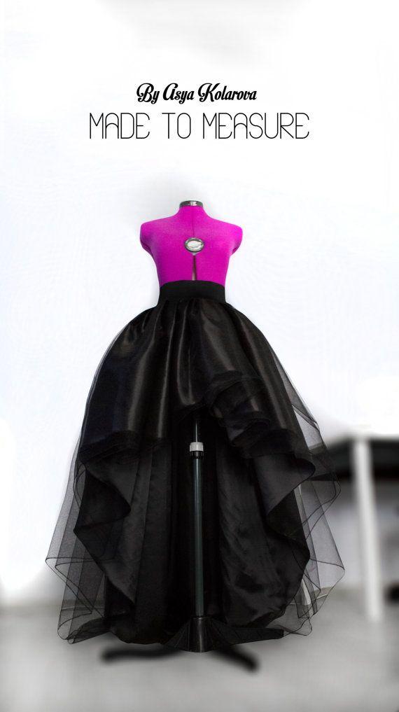 2f3b4608e7 High low tulle skirt Full maxi skirt Long black tulle skirt Ball ...