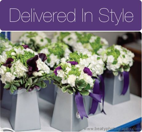 Silver Blumebox Bouquet Delivery With Purple Ribbon Rose Of Sharon