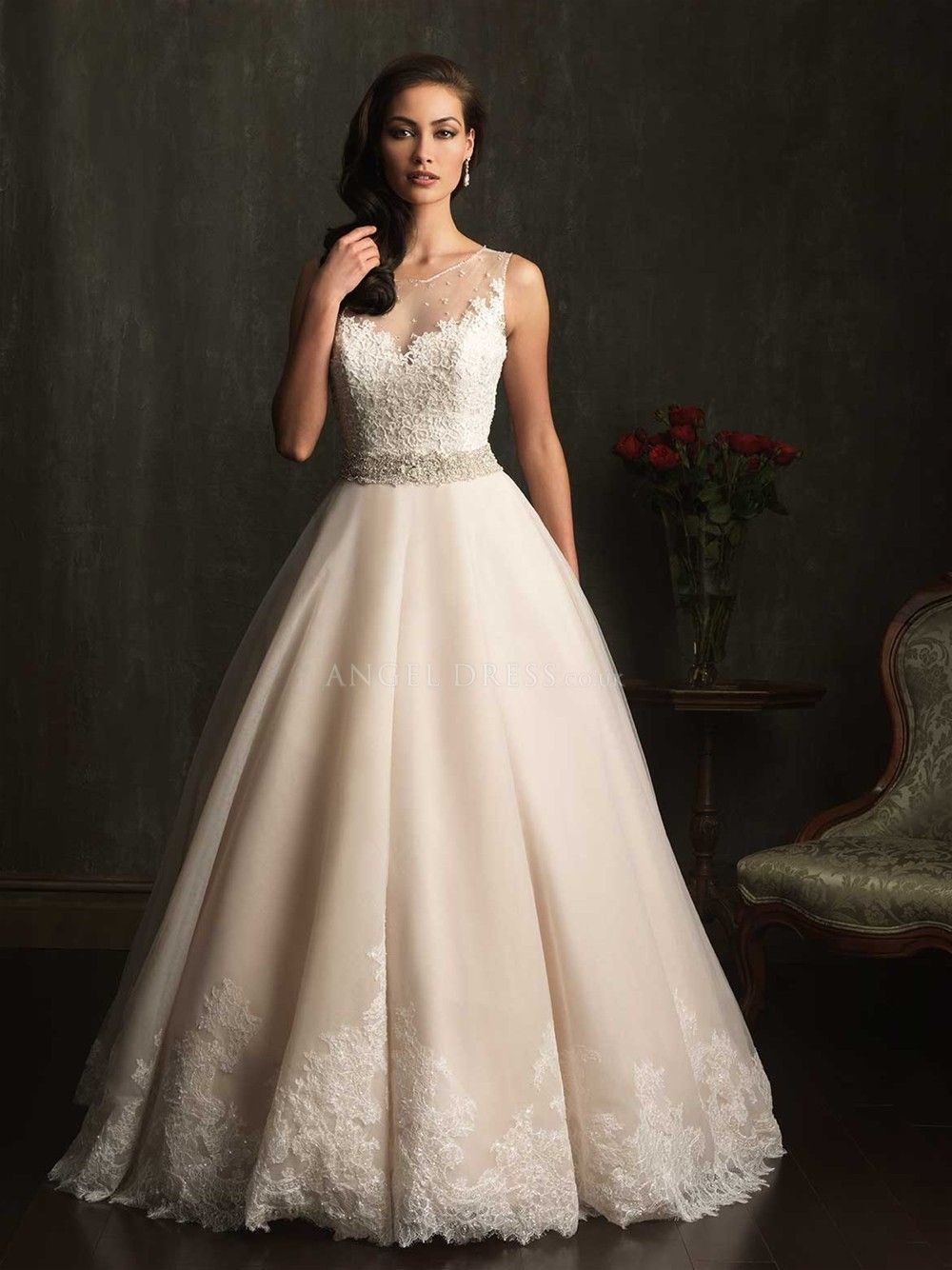 Dramatic wedding dresses  Ball Gown Jewel Lace u Tulle With Sash Ribbon Floor Length Dramatic