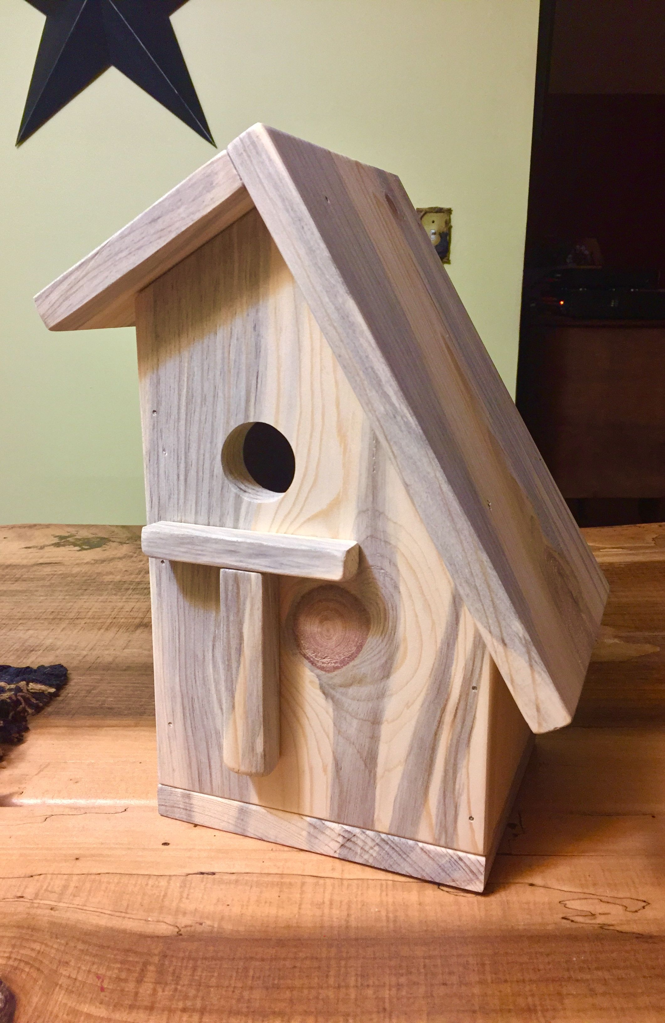 Spacious Pine Slanted Roof Birdhouse The Skaarsgard Collection