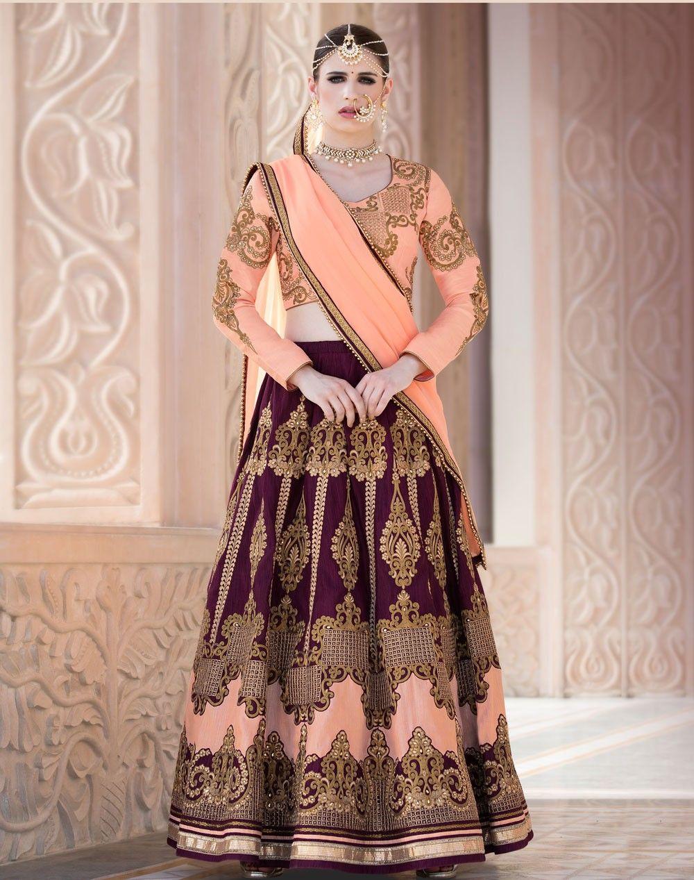 359a0e19f6 Purple Banglori Silk designer Indian Panjabi lengha with peach choli J17489