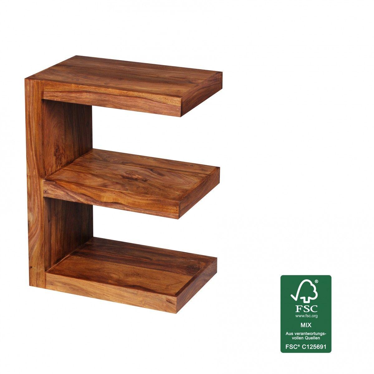 Finebuy Beistelltisch Massivholz Sheesham E Cube 60cm Hoch