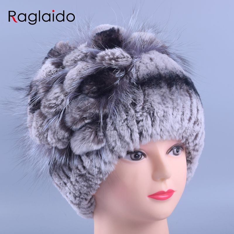 4549a9eb66b Raglaido Fur Winter Hats for Women Beanies Real Rex Rabbit +Fox fur  decoration floral hats