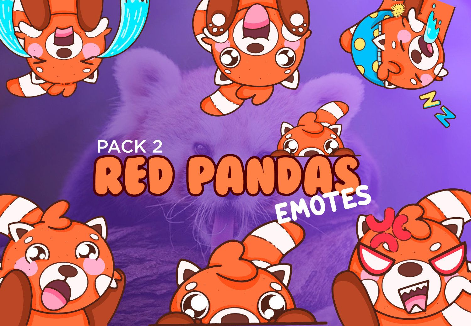 6 Cute Red Pandas Twitch Discord And Youtube Emotes Pack 2 In 2020 Red Panda Panda Cute