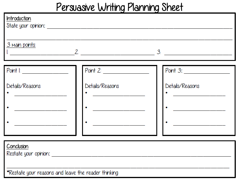 persuasive essay planning sheet This persuasive writing outline worksheet is suitable for 7th - 11th grade writers can fill out this handy outline template to plan a persuasive essay it has spaces to map out an effective introduction, three arguments (with supporting details), a counter argument for anticipating objections, and a conclusion.
