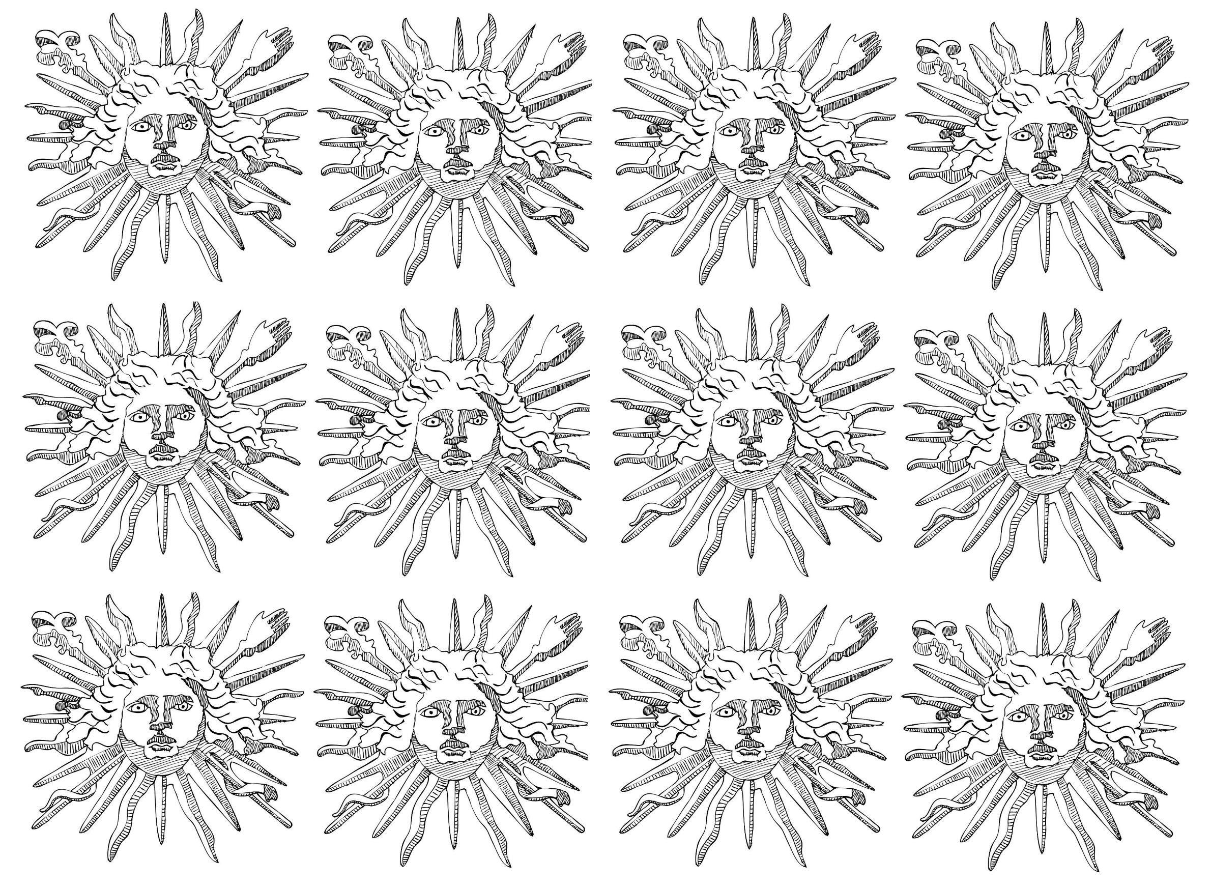 free coloring page coloring symbols louis 14 sun king symbol of