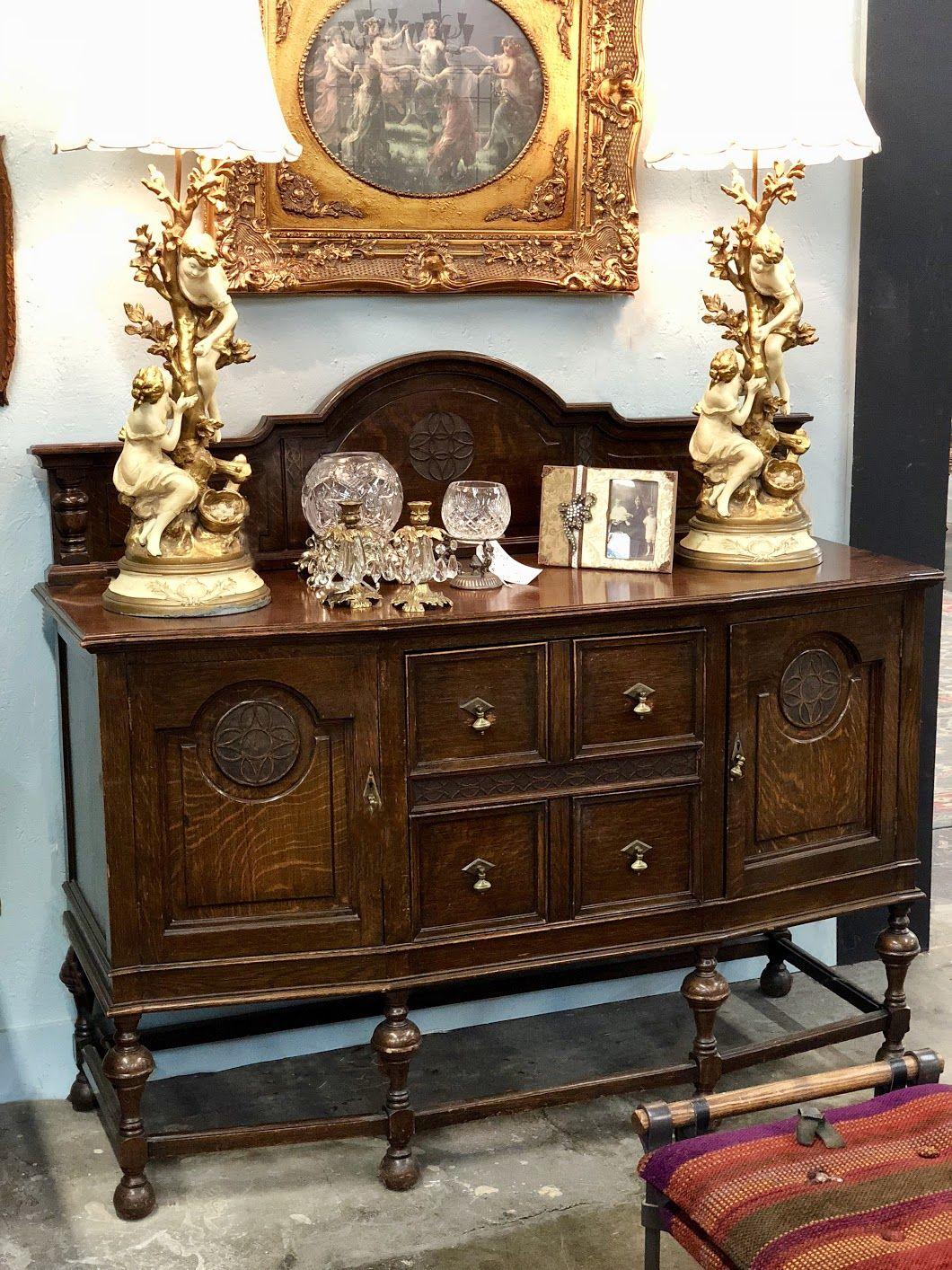 Gorgeous Antique Tiger Oak Buffet On Sale 59