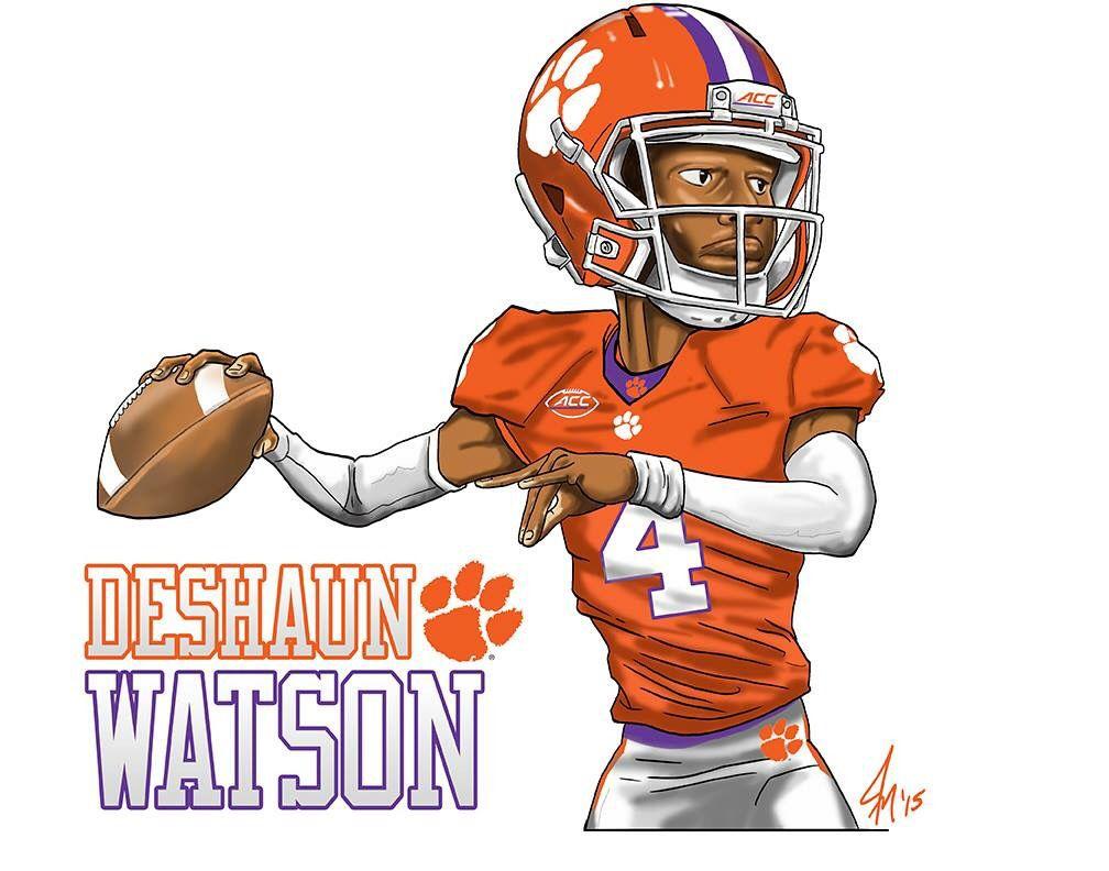 Clemson tigers deshaun watson quarterback 4 caricature