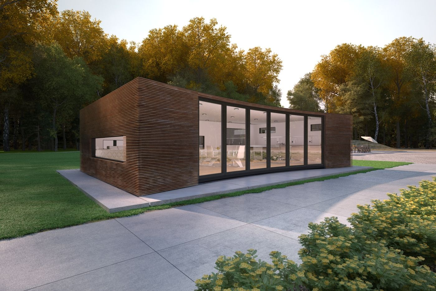 Front garden features  The California design from Urbann features a concave facade to the