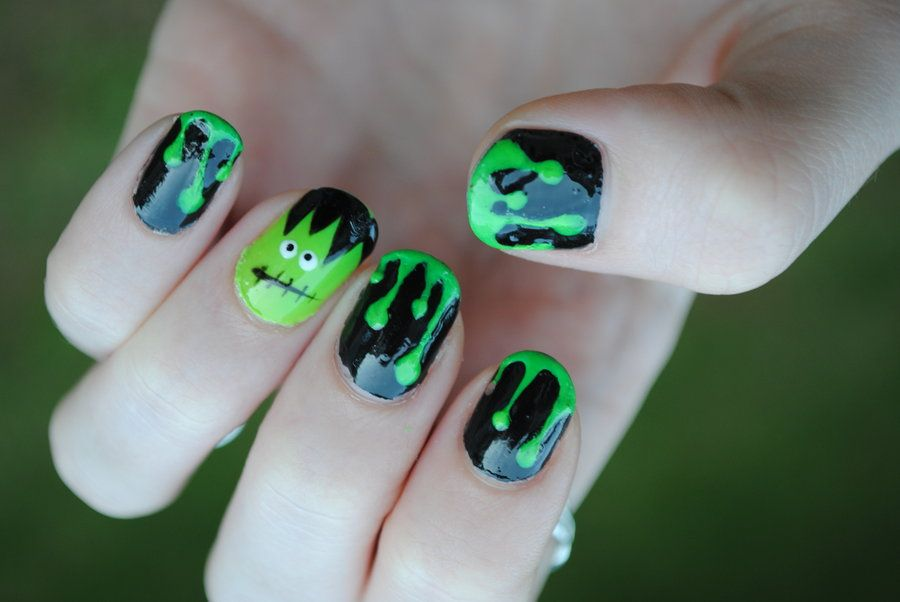 Green Slime and Frankenstein Nail Art by dancingmelons97.deviantart.com on  @deviantART - Green Slime And Frankenstein Nail Art By Dancingmelons97.deviantart