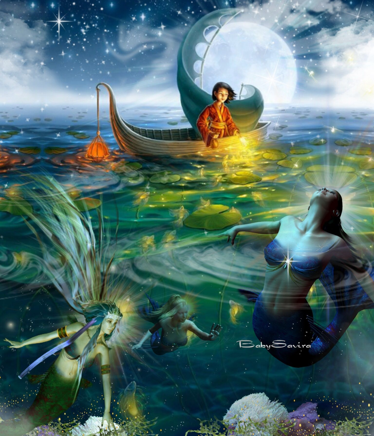 art fantasy u2014 mermaid beauty u2014 stary night u2014 enchanted whispers