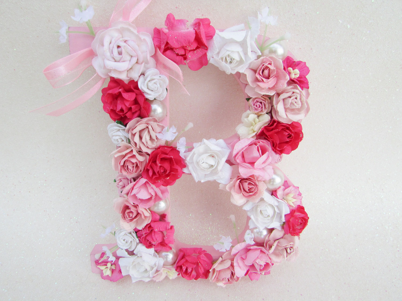 Custom letter B, Flower letter, Floral letter B, Nursery wall letter ...