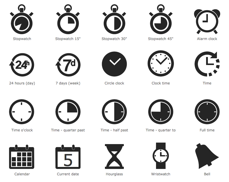 Design Elements Time and Clock Pictograms 아이콘, 시계, 제품 디자인
