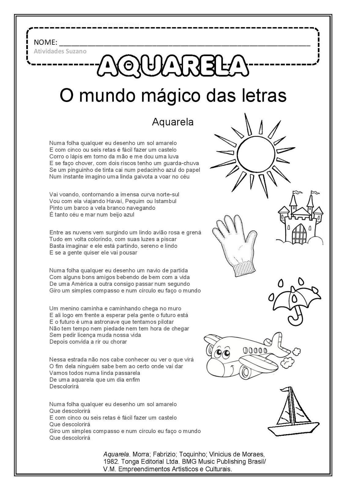 Atividades Com A Musica Aquarela Com Imagens Letras De Musicas