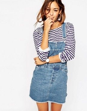 91f913397df ASOS Denim Classic Overall Dress With Raw Hem in Mid Wash Blue ...