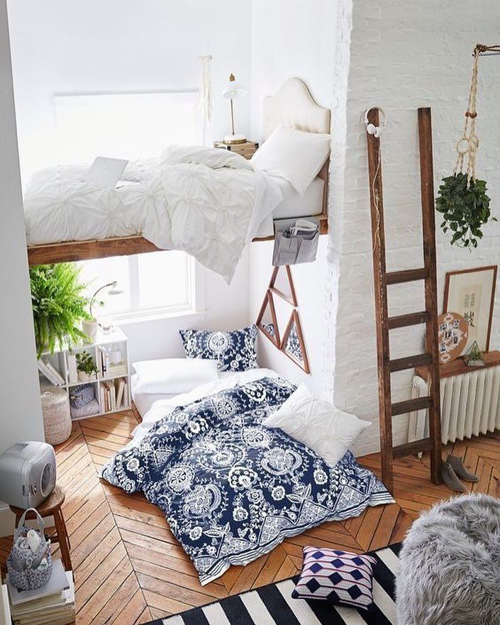 chevron hardwood floors lofted bed