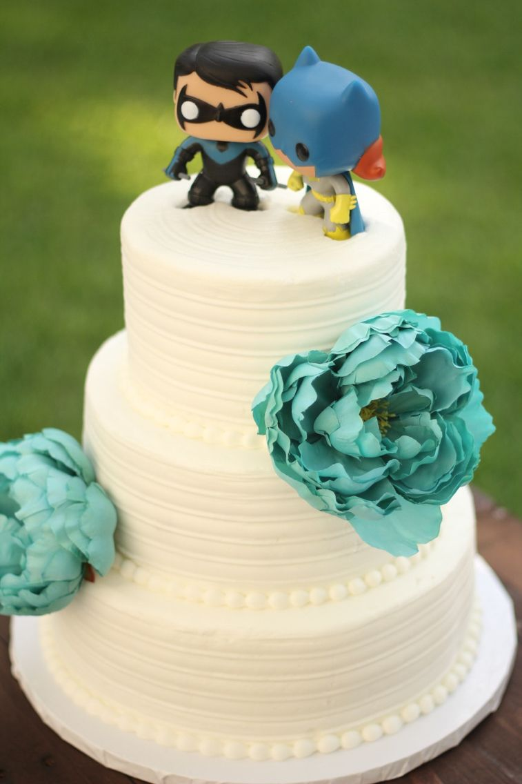 Nightwing and Batgirl Funko cake toppers. So happy my wife was okay ...