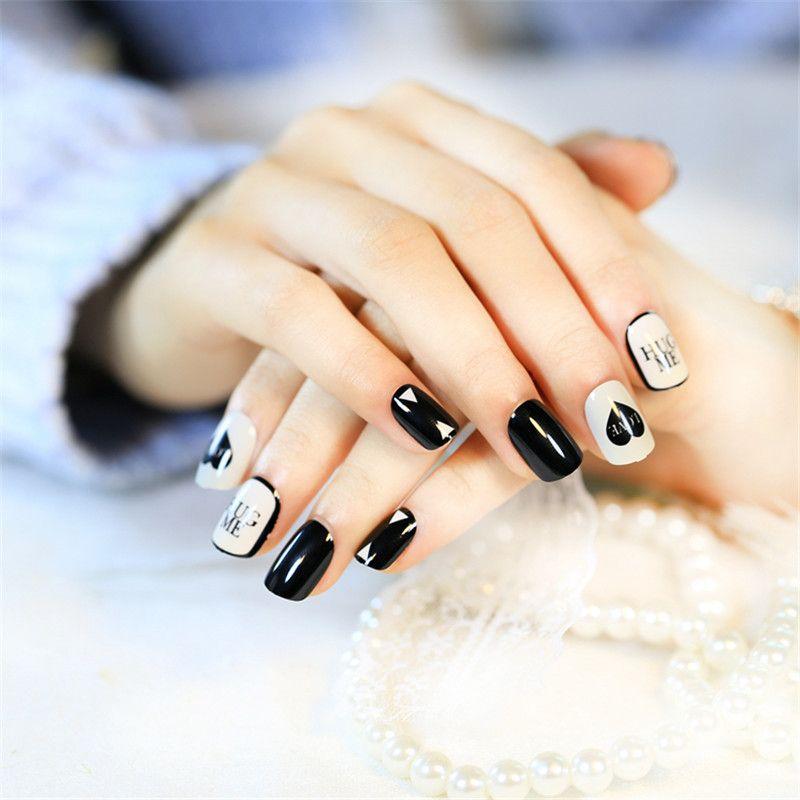 24pcs Sexy White Black False Nails Kit Lady Daily Wear Cream Fake ...