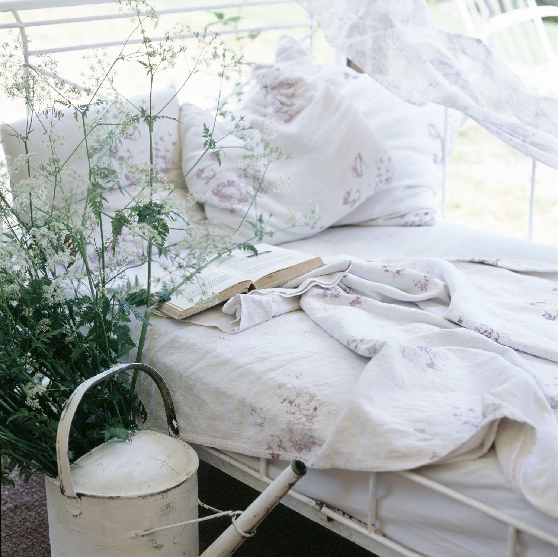 Pretty & fun outdoor bedroom—lovely cotton bedding—Summer—lookbook