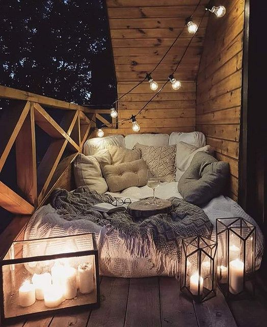 Cozy reading nook by patricklawe also lights on the patio apartment design in balcony rh pinterest