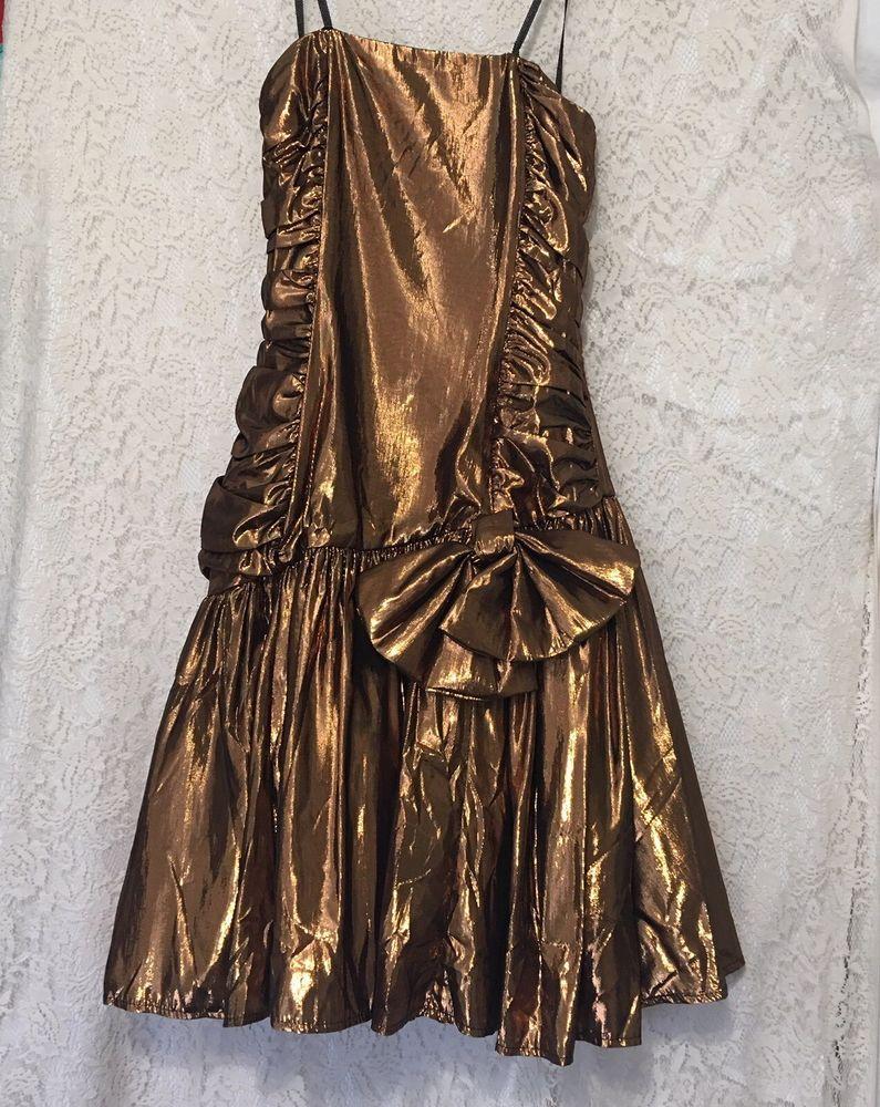 Vintage s bronze ruffle prom dress size s big bow metallic
